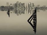 East Boston, Financial District from Logan Airport, Boston, Massachusetts, USA Kunst på metal af Walter Bibikow