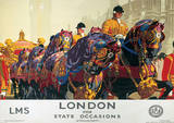London, England (State Occasions) Vintage Style Travel Poster Masterprint