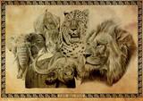 Ed Teasdale - The Big Five Animal Poster Masterdruck