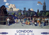 London, England (By Rail) Vintage Style Travel Poster Masterprint