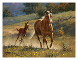 Running With Mom Print by Jack Sorenson