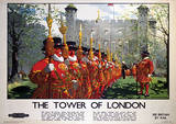 London, England (Tower of London) Vintage Style Travel Poster Masterprint