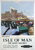 Isle Of Man (Peel Castle) British Islands Travel Poster Lámina maestra