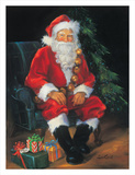 Santa And Presents Art by Susan Comish