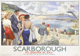 Scarborough, England Vintage Style Travel Poster Masterprint