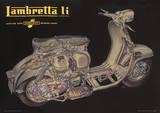 Lambretta Scooter (Li Cutaway) Vintage Style Poster Masterprint