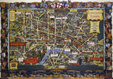London, England (Travel and Train Map) Vintage Style Travel Poster Masterprint