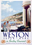 Weston Super Mare Vintage Style Travel Poster Masterprint