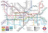 London, England Underground Map Vintage Style Travel Poster - Masterprint