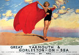 Gt Yarmouth, Norfolk, England Vintage Style Travel Poster Masterprint