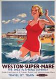 Weston-Super-Mare Vintage Style Travel Poster Masterprint