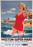 Weston-Super-Mare Vintage Style Travel Poster Masterprint