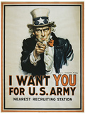 I Want You (Uncle Sam) Vintage Style Propaganda Poster Masterprint