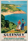 Island of Guernsey (English Channel) Vintage Style Travel Poster Masterprint