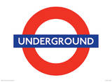 London, England Underground Sign Vintage Style Travel Poster Masterprint