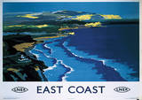 East Coast England Vintage Style Travel Poster Masterprint