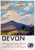 Devon Vintage Style Travel Poster Masterprint