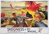 Skegness, Lincolnshire, England Vintage Style Travel Poster Masterprint