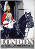 London, England (Guard on Horse) Vintage Style Travel Poster Masterprint