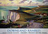 Downland Rambles Vintage Style Travel Poster Masterprint