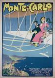 Monte Carlo Vintage Style Travel Poster Masterprint