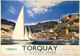 Torquay, England Vintage Style Travel Poster Masterprint