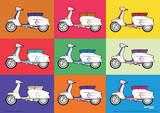 Lambretta Scooter - Pop Art Vintage Style Poster Masterprint