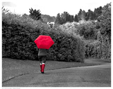 Red Boots and Umbrella Poster