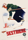 Italia Sestriere Vintage Style Travel Poster Masterprint