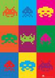 Space Invaders (Pop Art) Retro Video Game Poster Masterprint