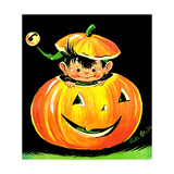 Goblin in the Pumpkin Patch - Jack & Jill Giclee Print by Ruth Bendel