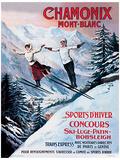 Chamonix Mont-Blanc Vintage Style Travel Poster Masterprint