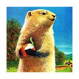 Groundhog and Apple - Jack & Jill Giclee Print by Dorothy Forsyth