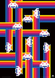 Space Invaders (Rainbow Trails) Retro Video Game Poster Masterprint