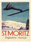 St. Moritz Vintage Style Travel Poster Masterprint