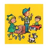 Safe Crossing - Jack & Jill Giclee Print by Lee de Groot