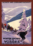 Winter Sports In The Vosges Vintage Style Travel Poster Masterprint