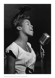 Sarah Vaughan at Microphone Posters by William P. Gottlieb