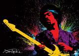 Jimi Hendrix (Paint) Music Poster Masterprint