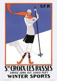 Ste. Croix-Les Rasses Vintage Style Travel Poster Masterprint