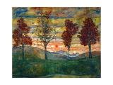 Four Trees, c.1917 Giclée-Premiumdruck von Egon Schiele