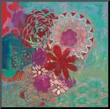 Jeanne Wassenaar - Bohemian Flowers Reprodukce aplikovaná na dřevěnou desku