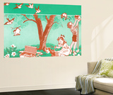 Painting Birdhouses - Jack & Jill Wall Mural by Janet Smalley