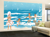 Playing in the Surf - Jack & Jill Wall Mural – Large by Ann Eshner