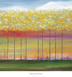 Sun Setting Through Trees Posters av Mary Johnston