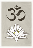 Lotus Meditation AUM Blue White Print Poster Photo