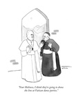 """Your Holiness, I think they're going to draw the line at Vatican dance p…"" - Cartoon Regular Giclee Print by Emily Flake"