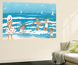 Playing in the Surf - Jack & Jill Wall Mural by Ann Eshner