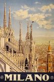 Milano Italy Travel Vintage Ad Poster Posters