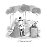"""I—I miss my frog wife."" - New Yorker Cartoon Premium Giclee Print by Emily Flake"